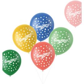 Retro ballonnen congrats   33cm / 6 stuks