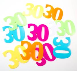 Tafeldecoratie / sier confetti 30 jaar XL