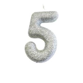 Nummerkaars glitter zilver '5'