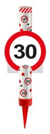 IJsfontein 30 jaar verkeersbord