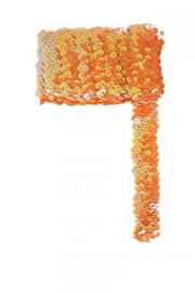 Paillettenband breed elastisch oranje 3m