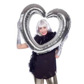 Folieballon selfie hart zilver excl.