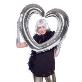 Folieballon selfie hart zilver