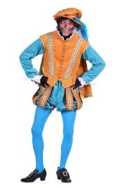 Pieten kostuum fluweel turqoise
