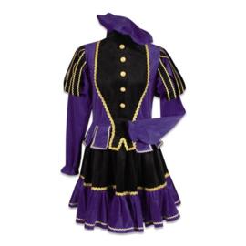 Pieten jurk Murcia zwart paars