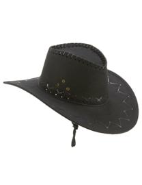 Cowboy hoed suede zwart