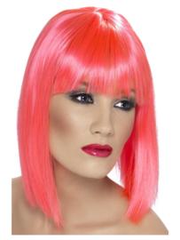 Pruik glamour Neon pink