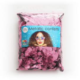 Confetti metallic rond 10mm 250 gram baby pink