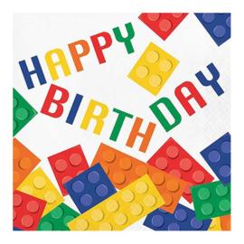 Bricks servetten 16 stuks | Happy birthday