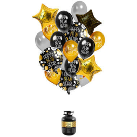 Helium tank Balloongaz 30 'Happy New Year' met Ballonnen en Lint