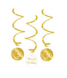 Swirl decorations goud/wit - 30