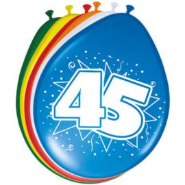 Ballonnen 45 jaar (assorti kleuren)