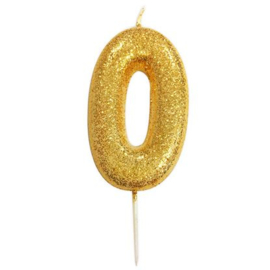 Nummerkaars glitter goud '0'