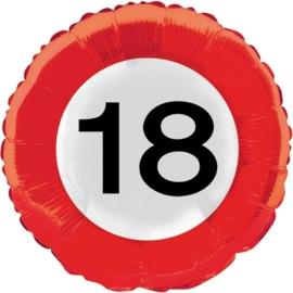 18 jaar folieballon verkeersbord
