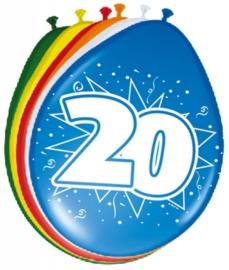 Ballonnen 20 jaar (assorti kleuren)