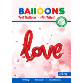 folieballon oneword 'LOVE' red