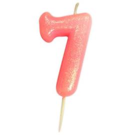 Nummerkaars glitter roze '7'