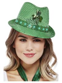 St. Patricks day trilby hoedje met pailletten en ledverlichting