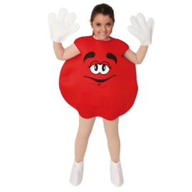 M & M kostuum rood kids