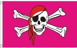 Vlag pink pirate 90x150cm
