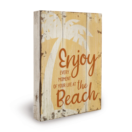 Houten beach bord enjoy
