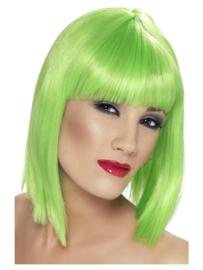 Pruik glamour Neon groen