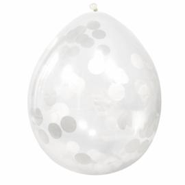 Confetti ballonnen wit 4 stuks