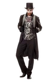 Victoriaanse mantel zwart zilver