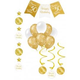 Verjaardag Feestpakket 4 delig goud   30 jaar