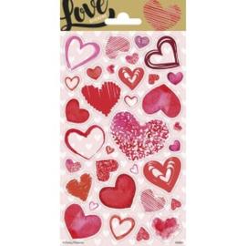 Stickervel twinkle Love Hearts