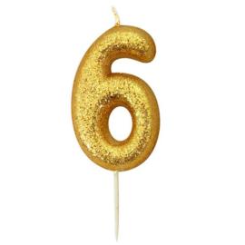 Nummerkaars glitter goud '6'
