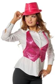 Pailletten dames vestje pink