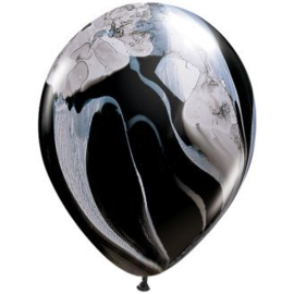 Marmer ballonnen black & white 25 stuks