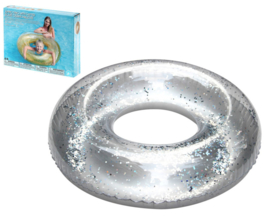 Opblaasbare Zwemband transparant glitter 91cm