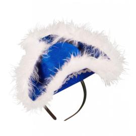 Dansmarieke mini hoed blauw wit
