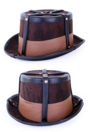 Steampunk hoed deco bruin