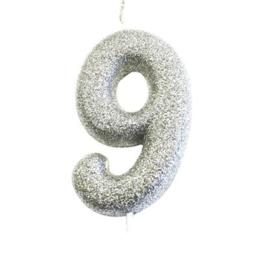 Nummerkaars glitter zilver '9'