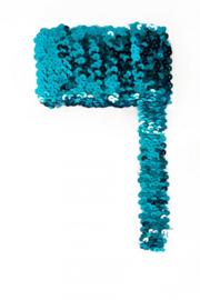 Paillettenband breed elastisch turqoise 3m