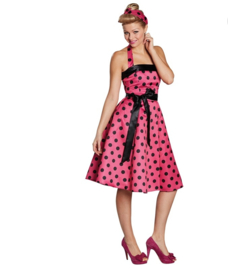 50's Rock 'n roll jurk zwart pink