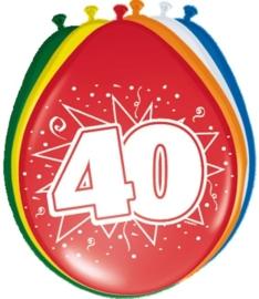 Ballonnen 40 jaar (assorti kleuren)