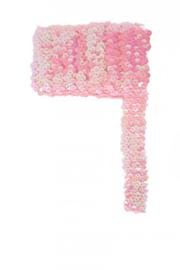 Paillettenband breed elastisch roze 3m