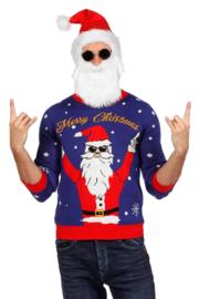 Kerst trui blauw rocking santa