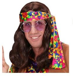 Pruik hippie John bruin