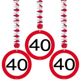 Hangdecoratie Verkeersbord 40 jaar