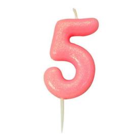Nummerkaars glitter roze '5'