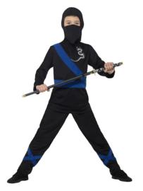 Ninja assassin kostuum zwart blauw