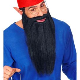 Baard met snor lang zwart | baardstel kabouter