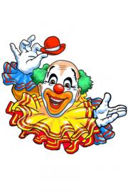 Wanddeco clown met kraag 15 cm