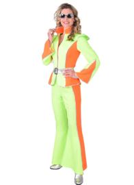 Disco kostuum fluor dames