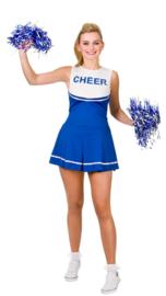 Cheerleader jurkje blauw wit